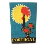 Image of Vintage Mid-Century Portugal Marcelino Macedo Vespeira Rooster Travel Poster For Sale