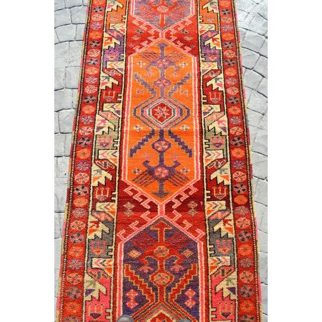 Orange Heterodox Kurdish Runner Herki Rug. Hand-Knotted Colorful Tribal Long Runner - 3′1″× 15′6″ For Sale - Image 8 of 12