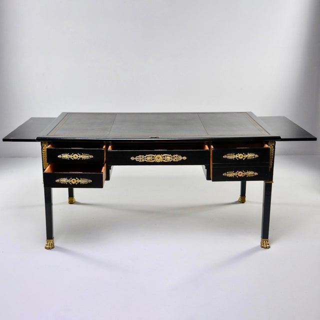 Late 19th Century 19th C Empire Style Partner's Desk With Orig Brass Fittings and New Leather Top For Sale - Image 5 of 13
