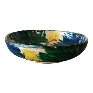 Vintage Mexican Pottery Decorative Bowl For Sale