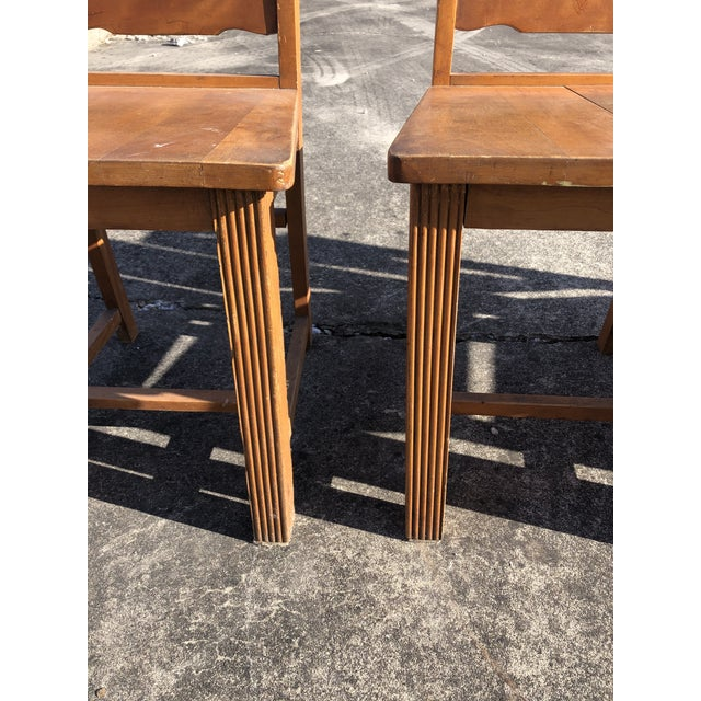 1950s Art Deco Style Wooden Side Dining Chairs -Set of 4 For Sale - Image 5 of 13