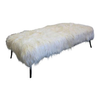 Large Long Hair Goatskin Bench