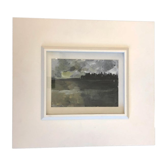 1980s Acrylic on Paper Framed Landscape For Sale - Image 5 of 5