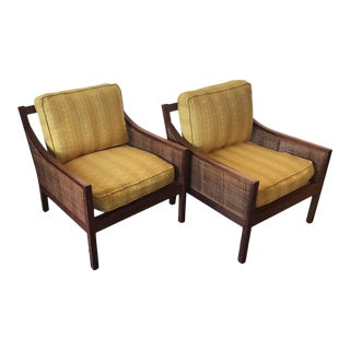 Danish Mid Century Modern Teak and Rattan Arm Chairs - a Pair For Sale