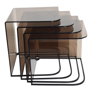 Mid-Century Modern Nesting Tables in Smoke Lucite & Iron - Set of 4 For Sale