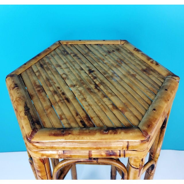 Vintage Burnt Tortoise Hexagon Bamboo Plant Stand For Sale - Image 5 of 7