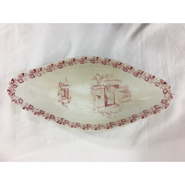 Red and White Digoin & Sarreguemines Faience Dinner Set - Set of 26 For Sale - Image 10 of 13