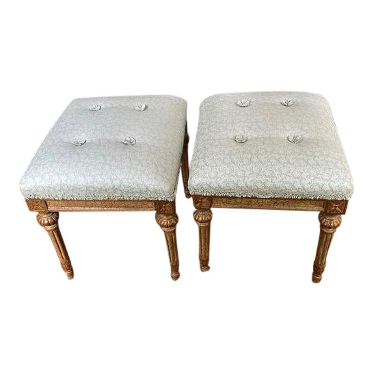 Louis XVI Carved Stools with Upholstered Seats - a Pair For Sale