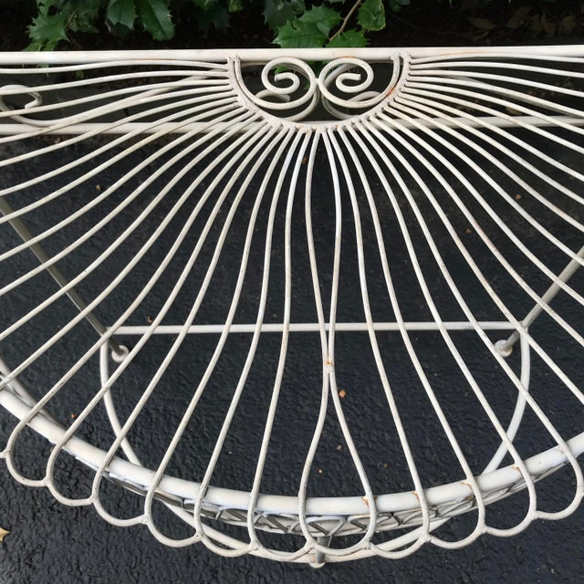 Vintage Wrought Iron Demi Lune Table With Original Paint For Sale - Image 4 of 11