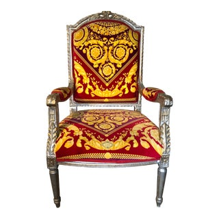 Antique Style Armchair With Versace Upholstery in Atelier Versace Fabric For Sale
