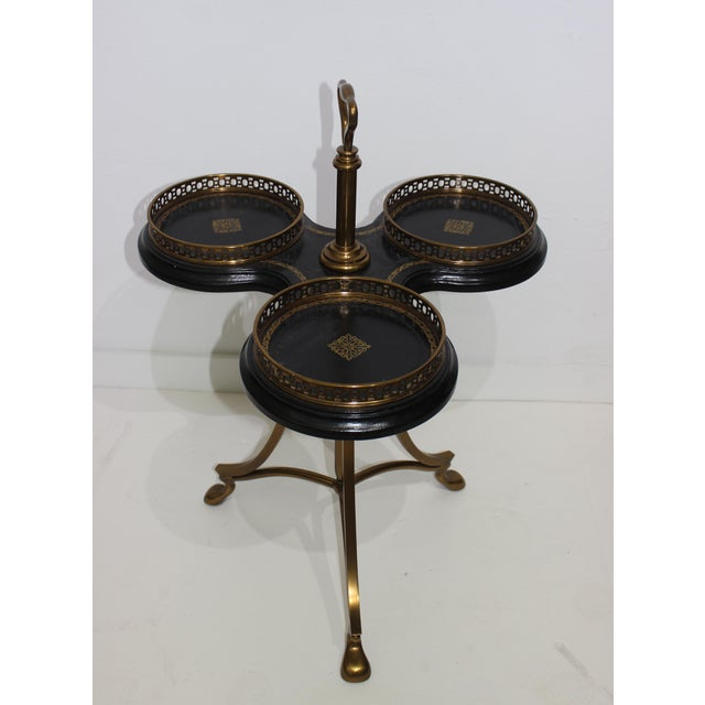 Vintage Neoclassical Revival La Barge Trefoil Side Table Bronze & Leather For Sale In West Palm - Image 6 of 12