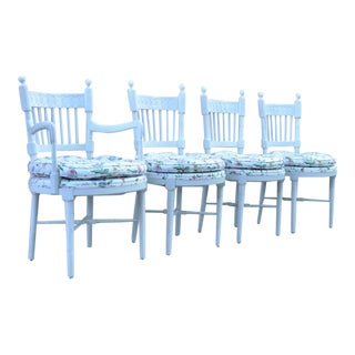 4 Vintage Hollywood Regency White Painted French Style Spindle Back Dining Chair For Sale