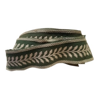 Art Deco Green and White Border Fabric Trim For Sale