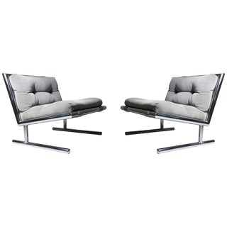 Pair of Vintage Sled Base Chrome Lounges by Arthur Umanoff for Directional For Sale