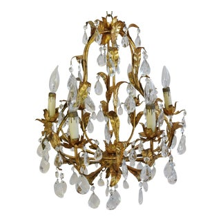 1950s Italian Gilt Tole & Crystal Prism Chandelier with 6-Arms For Sale
