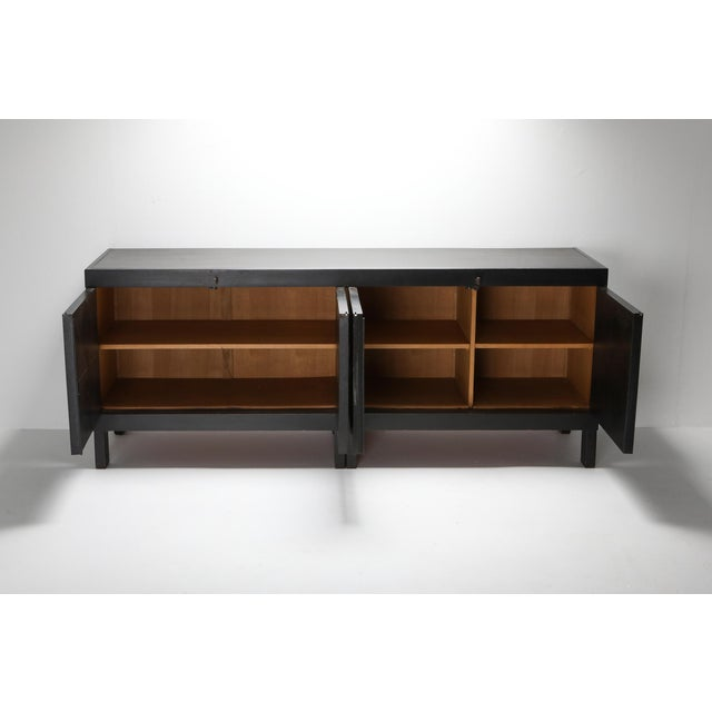 1970s De Coene Brutalist Stained Oak Credenza For Sale - Image 6 of 13