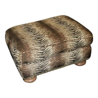 Hollywood Regency Glam Animal Tiger Print Ottoman For Sale