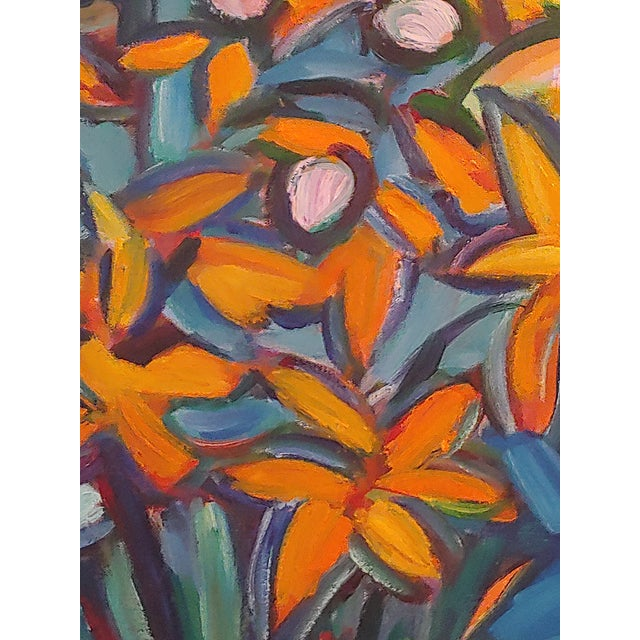 This is a large original abstract still life painting by late artist Richard Youniss titled Lilies 1, known for his bold...