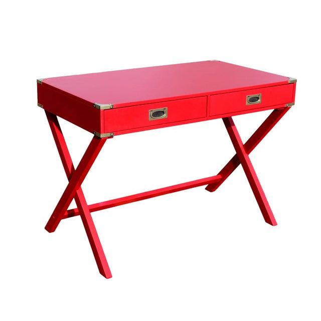 "Metal 1970s Campaign Desk in ""Lipstick"" Red & Brass Hardware For Sale - Image 7 of 7"