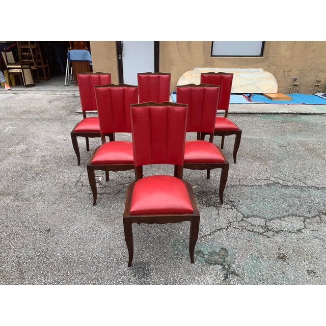 Art Deco 1940s Vintage French Art Deco Solid Mahogany Dining Chairs - Set of 6 For Sale - Image 3 of 13