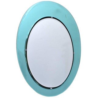 Italian Oval Wall Mirror in the Manner of Fontana Arte For Sale