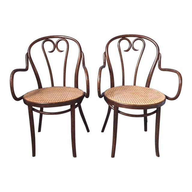 Thonet Bentwood Armchairs With Cane Seats - A Pair - Image 1 of 11