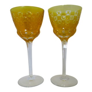 Bohemian Canary Yellow Cased Cut to Clear Vintage Wine Glasses - a Pair For Sale