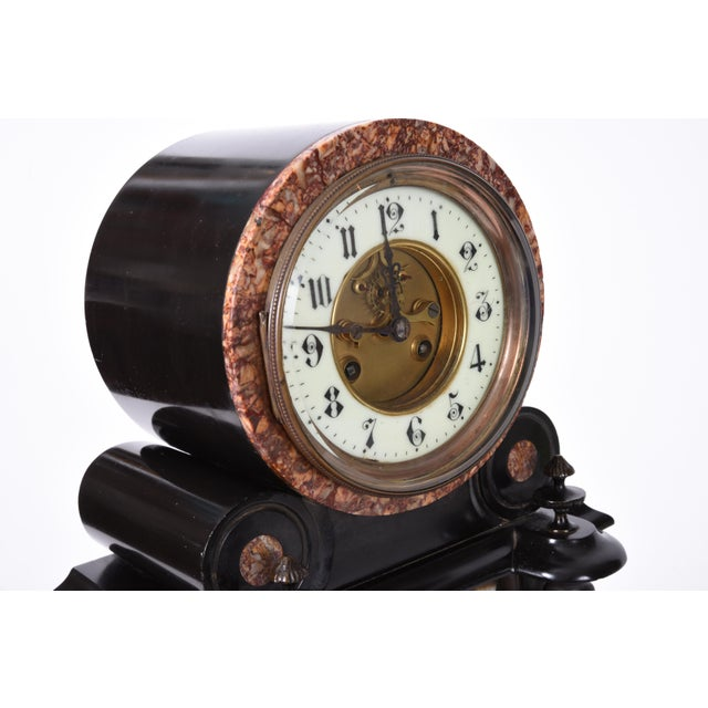 Antique French Marble and Bronze Mantle Clock For Sale - Image 4 of 10