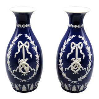 English Wedgwood Vases, Pair With Swags & Bows For Sale