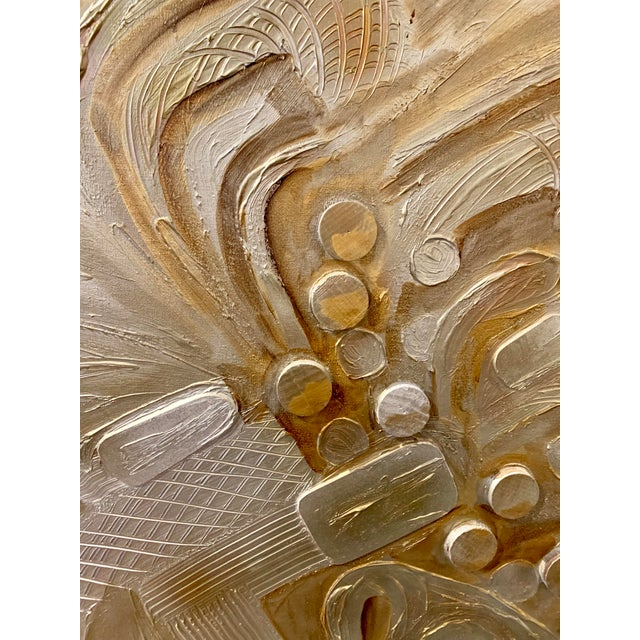 Large mid-century dimensional abstract painting, signed C. Frederick. The painting has been executed with metallic paints,...