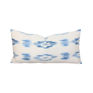 Blue Ikat Modern Boho Lumbar Pillow Cover For Sale