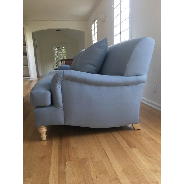 Modern Traditional English Roll Arm Sofa in Blue For Sale - Image 4 of 7