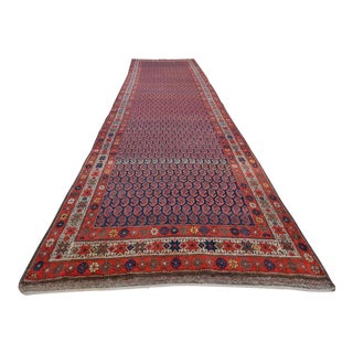 Large Kurdish Rug Runner, Vintage Handmade Extra Long and Wide Hall Rug, Blue and Orange Color Carpet Runner - 3′8″ × 13′3″ For Sale