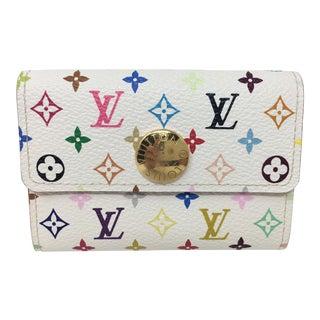 Louis Vuitton White Litchi Change Purse/Small Wallet For Sale
