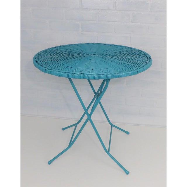 Vintage Teal Folding Wicker Tilt Top Table - Image 7 of 9