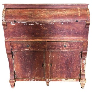 1930s Vintage Swedish One of a Kind Red Distressed Painted Wood Grocery Cabinet For Sale