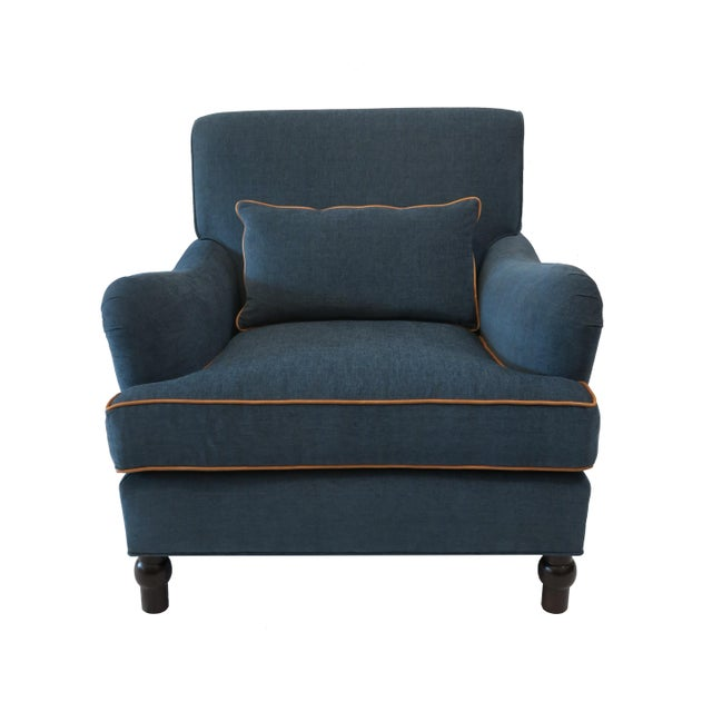 Custom Upholstered Teal Blue Armchair - Image 7 of 7