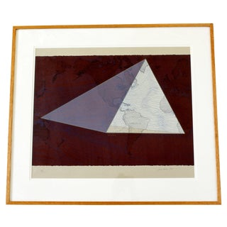 Contemporary Framed Lithograph Print Signed David Barr 5/50 1980s Four Corners