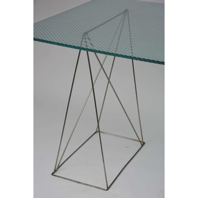 Minimalist Steel and Glass Trestle Table For Sale In Los Angeles - Image 6 of 8