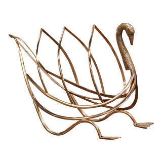 Midcentury French Brass Swan Magazine Rack From Maison Jansen For Sale