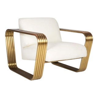 Brass and Leather Lounge Chair by Jay Spectre For Sale