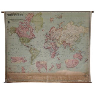 Map of the World, 1905, on Retractable Wooden Rolle, Antique, Archival For Sale