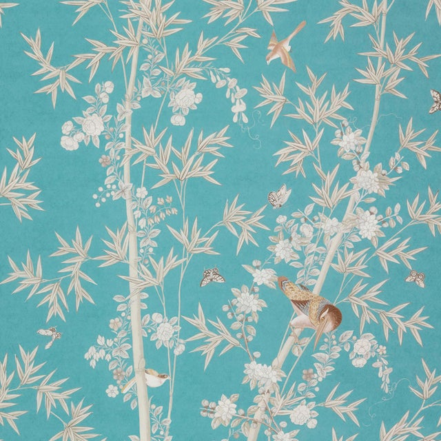 Contemporary Schumacher X Miles Redd Bright Pavilion Wallpaper in Peacock For Sale - Image 3 of 3