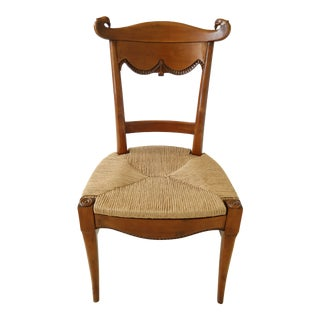 Hickory Chair Co Rush Seat Classical Side or Desk Chair For Sale