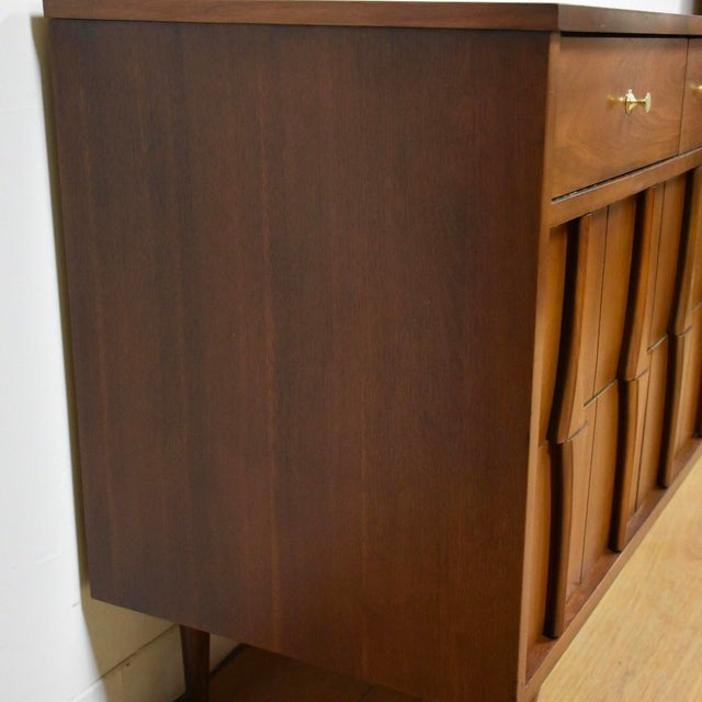 Mid-Century Modern Sculpted Walnut Long Dresser For Sale - Image 4 of 10