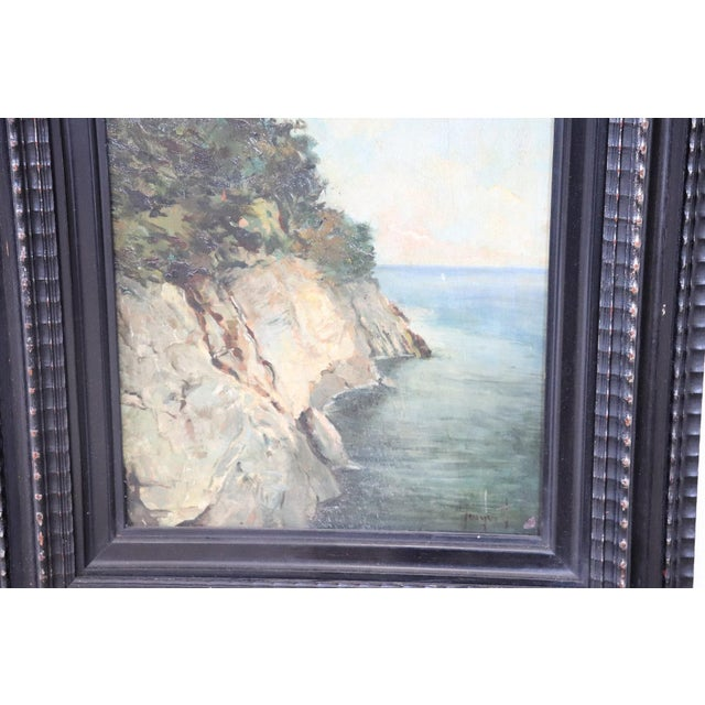 Expressionism 20th Century Oil Painting on Wood Table Signed Landscape of the Italian Coast For Sale - Image 3 of 6