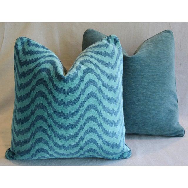 "Schumacher Velvet & Linen Feather/Down Pillows 21"" Square - Pair For Sale - Image 11 of 13"