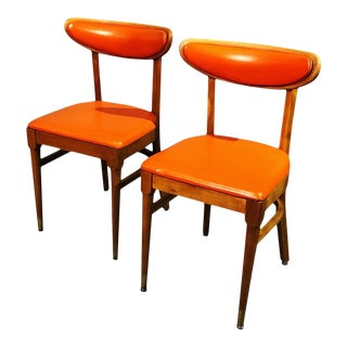 "1950s Mid Century Dining Chairs With Original Orange Vinyl by ""Thonet"" - a Pair For Sale"