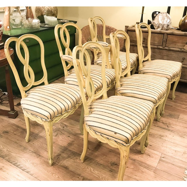 Set of 6 Mid Century Hollywood Regency Ribbon Back Dining Chairs - Image 3 of 12