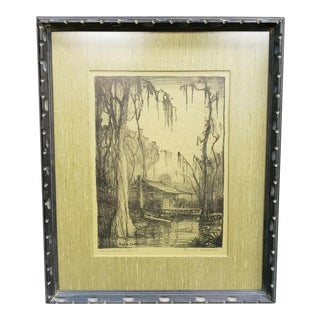 "1930's ""Crawfishers Shack"" Signed Etching by Knute Heldner For Sale"